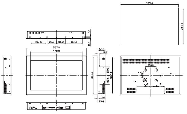 21 5 Inch Twen E224 Open Frame Panel Mount Water Resistant